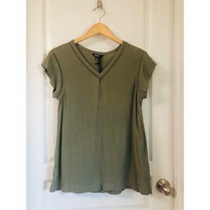 BUFFALO DAVID BITTON OLIVE GREEN TOP